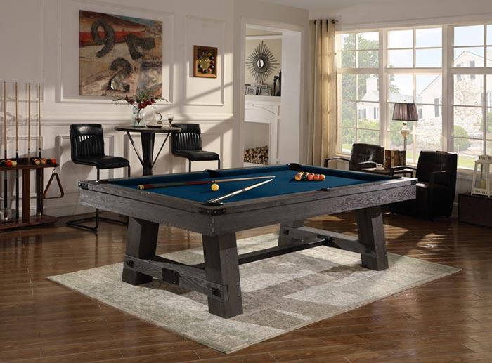 A 3-piece slate pool table