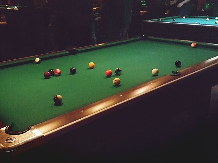 pool table in hall