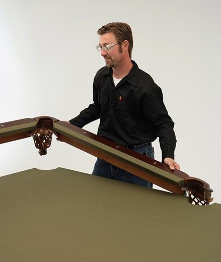 Hardwood rail with pure rubber gum cushion